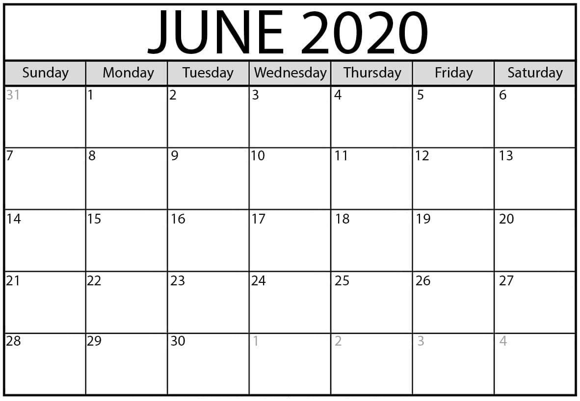 Cute June 2020 Calendar Excel
