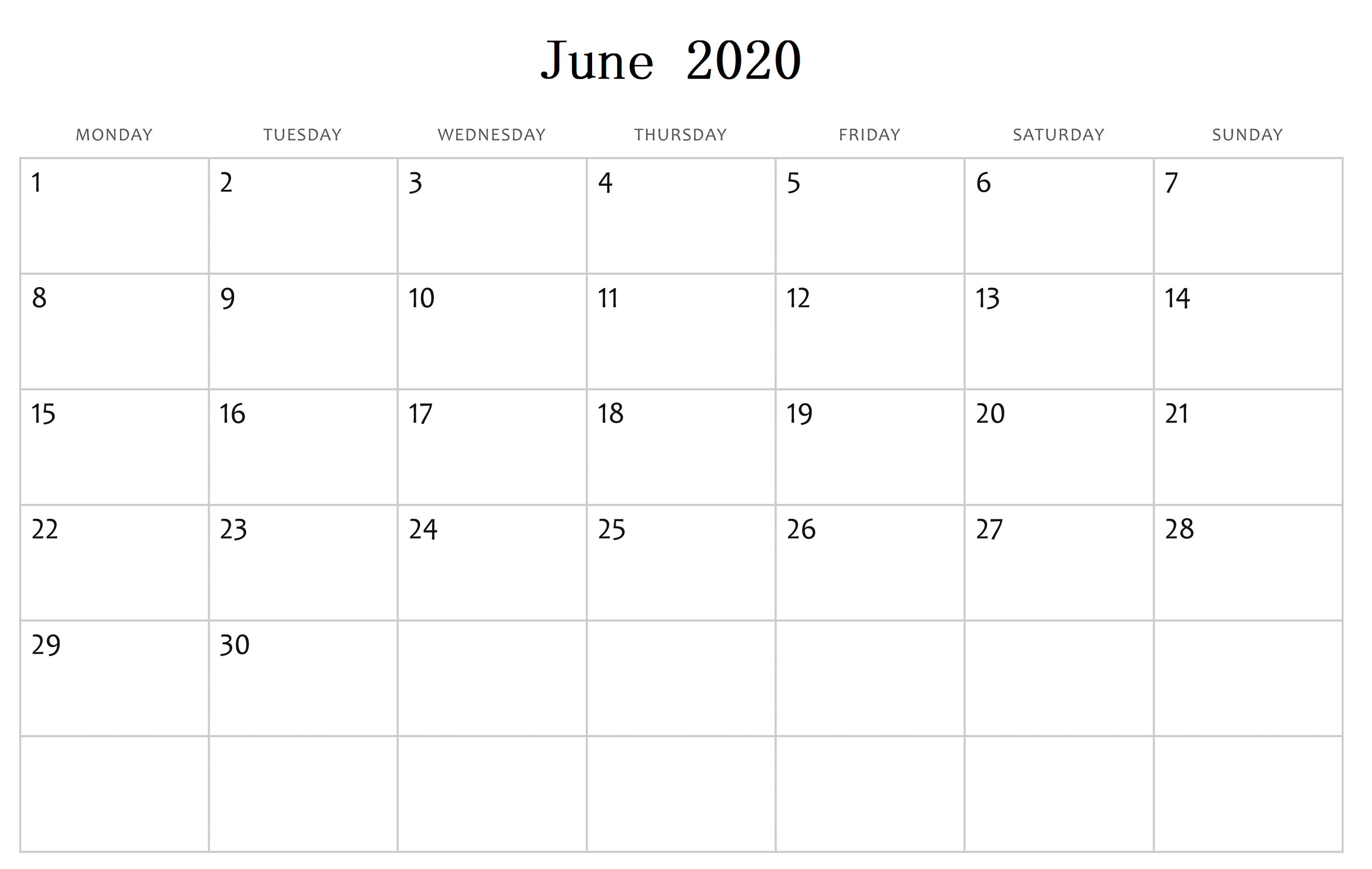 Cute June 2020 Calendar Layout