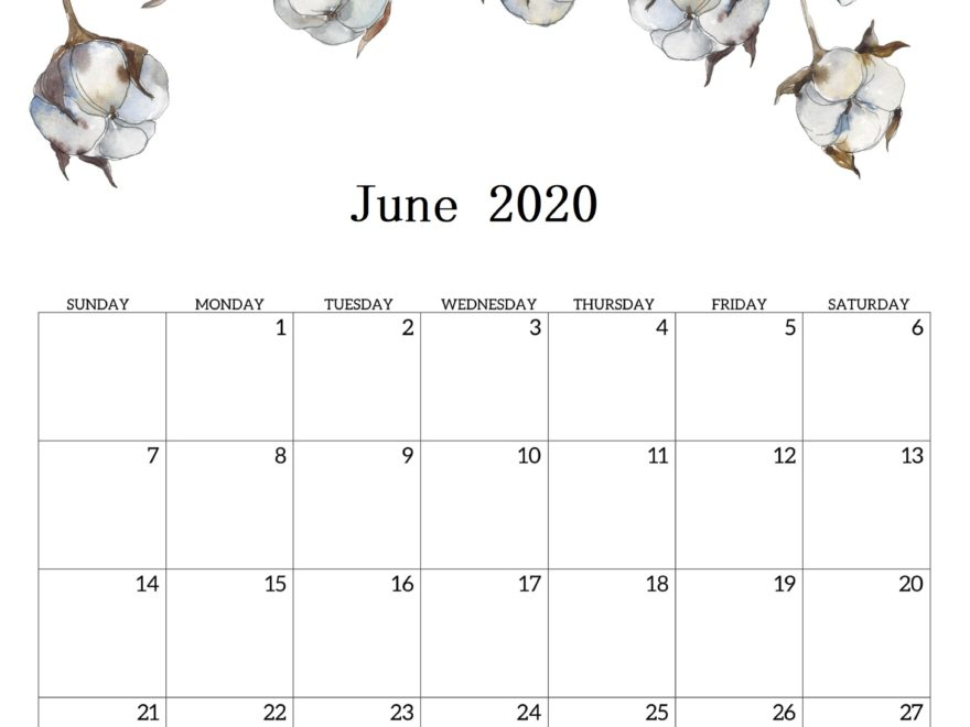 Cute June 2020 Calendar Online
