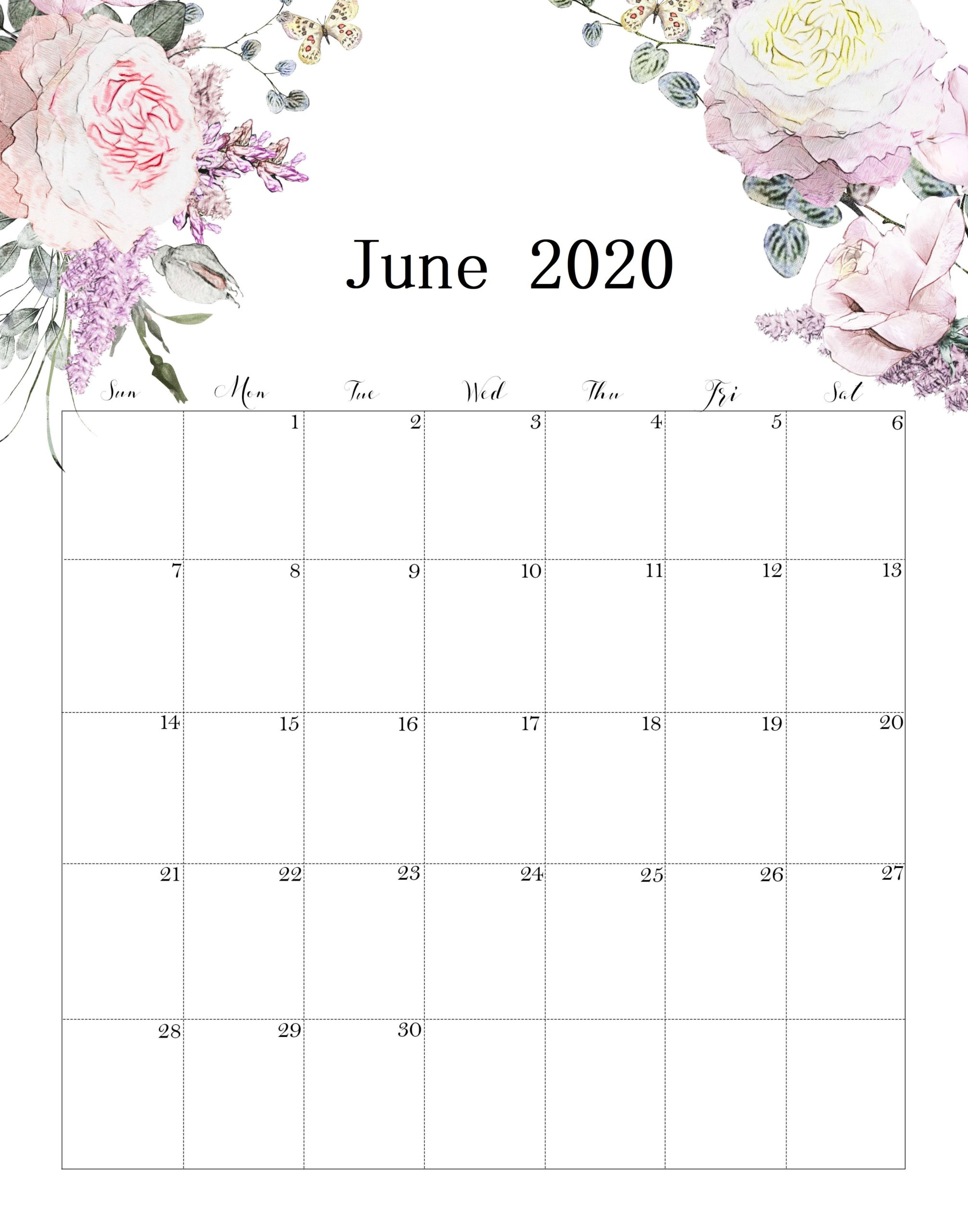 Cute June 2020 Calendar USA