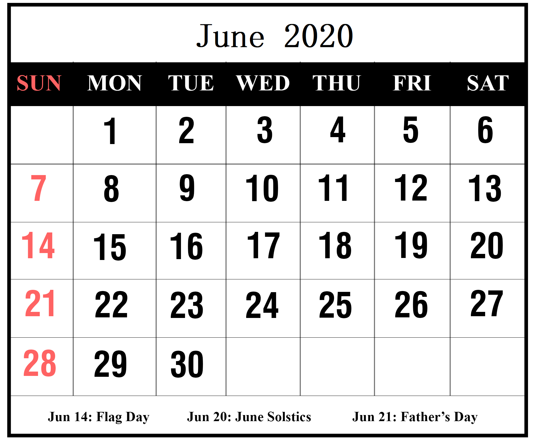 Cute June 2020 Calendar With Holidays