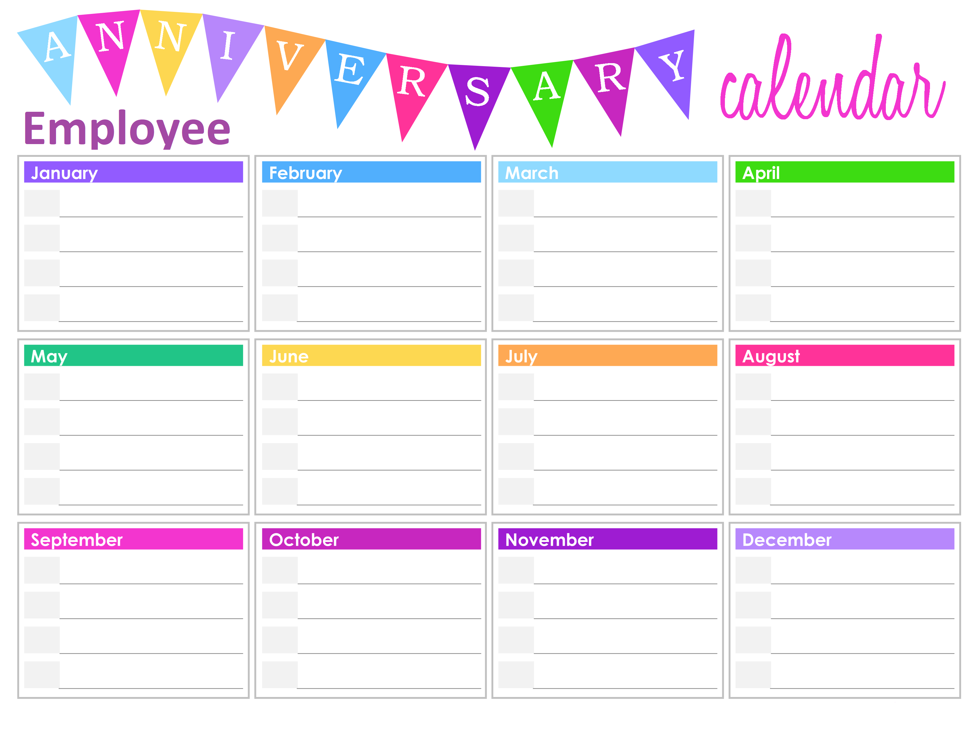 Employee Birthday Calendar Template