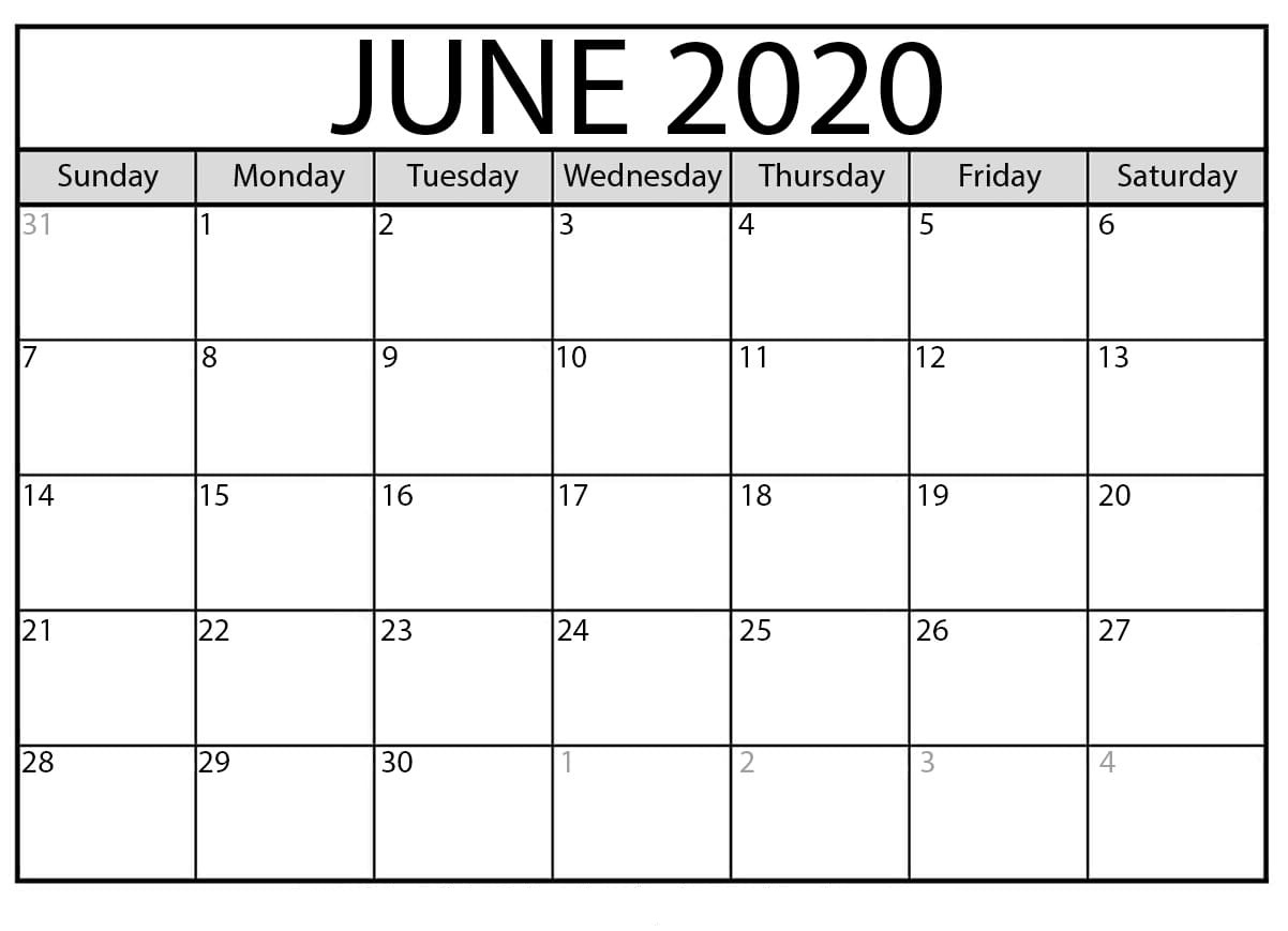 June 2020 calendar daily template
