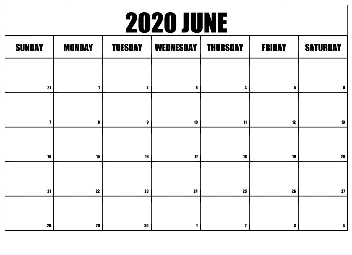 June 2020 calendar excel template