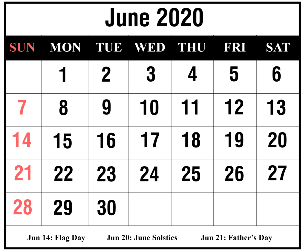 June 2020 calendar monthly template