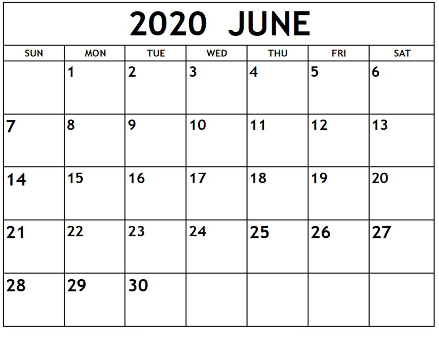 June 2020 calendar template download