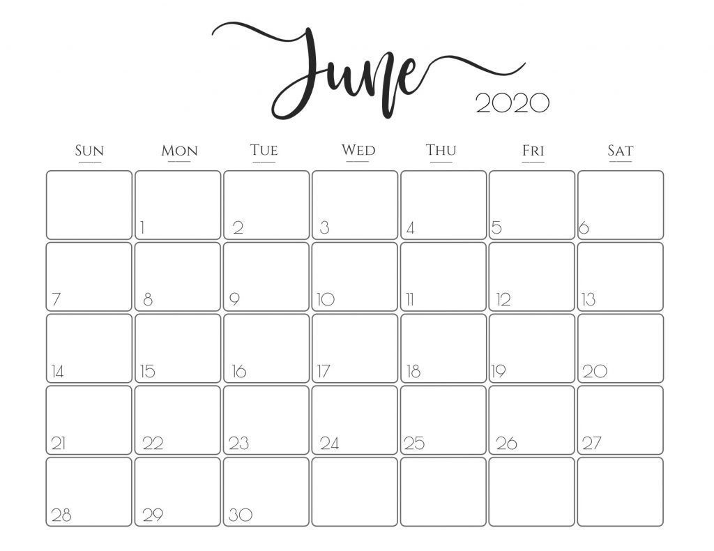 June 2020 calendar word template