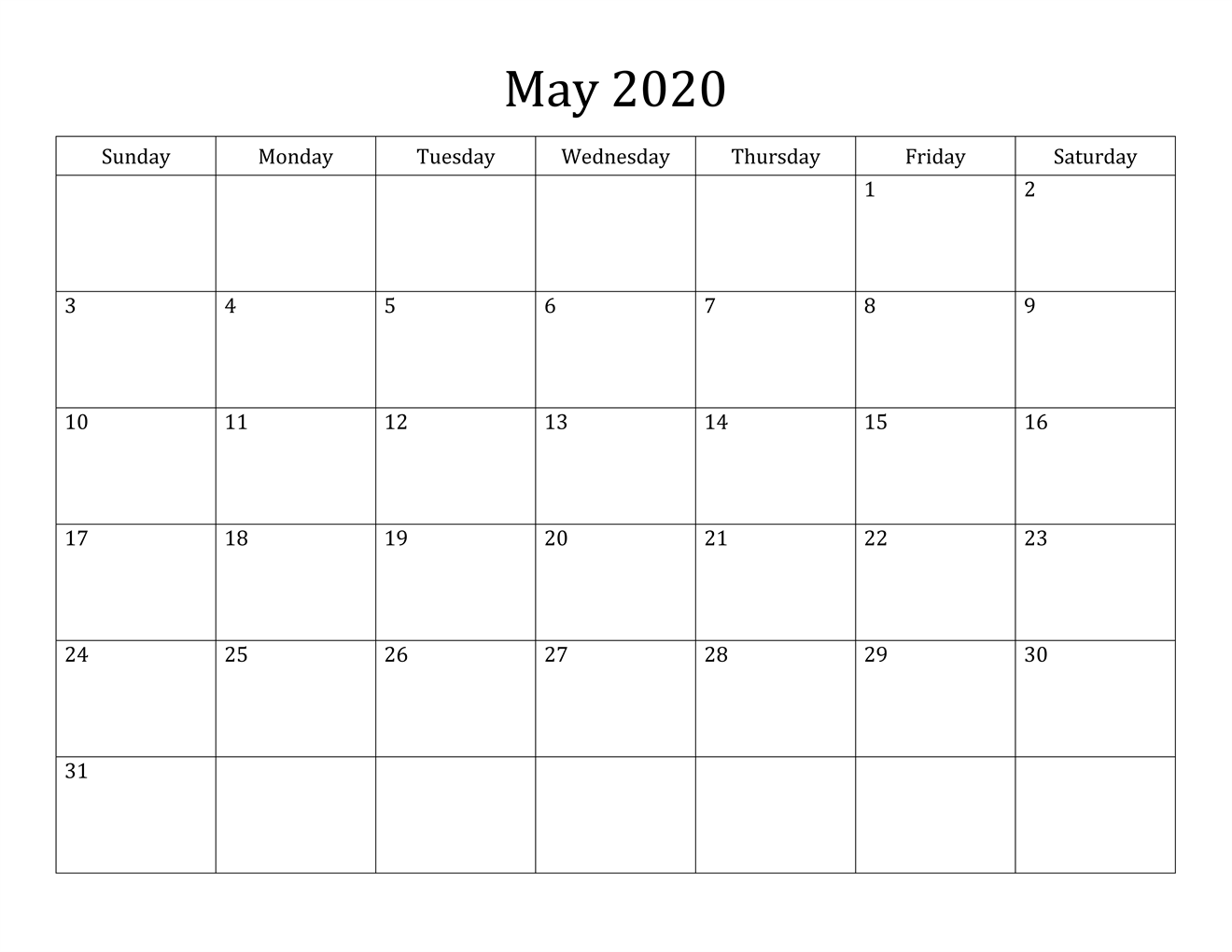 May 2020 calendar daily template
