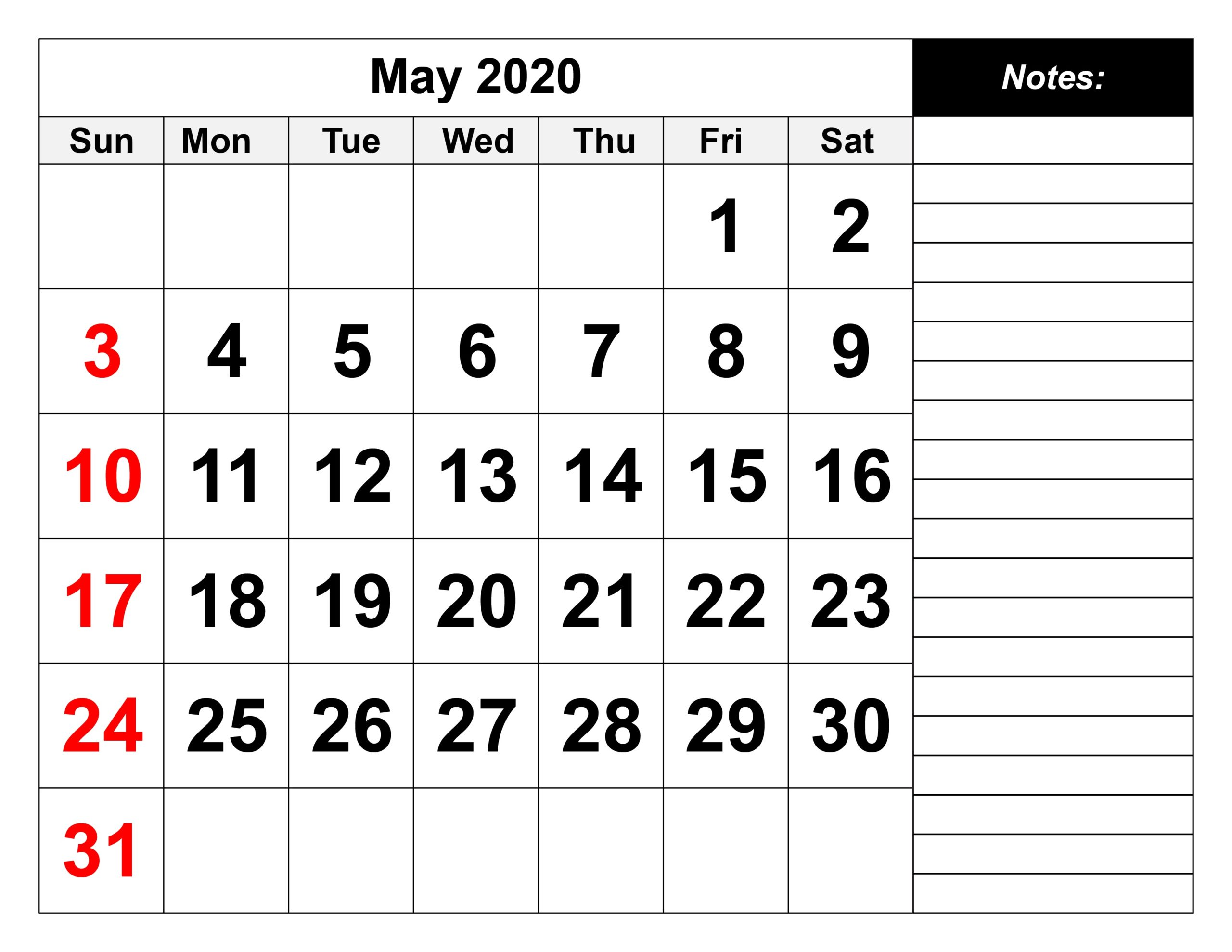May 2020 calendar excel template