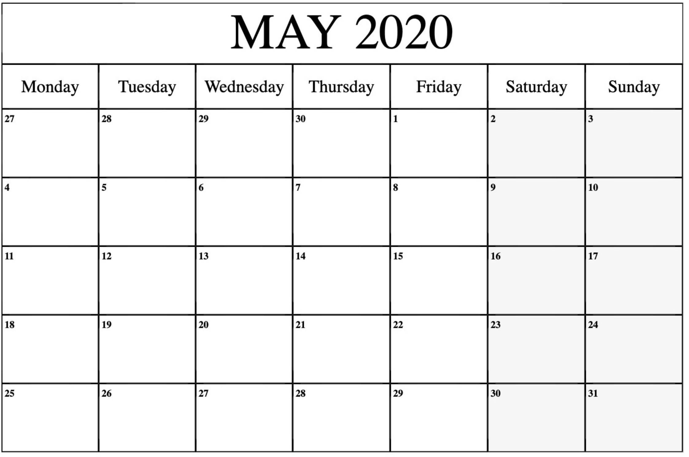 May 2020 calendar word template
