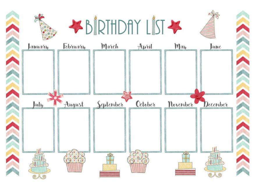School Birthday Calendar Template