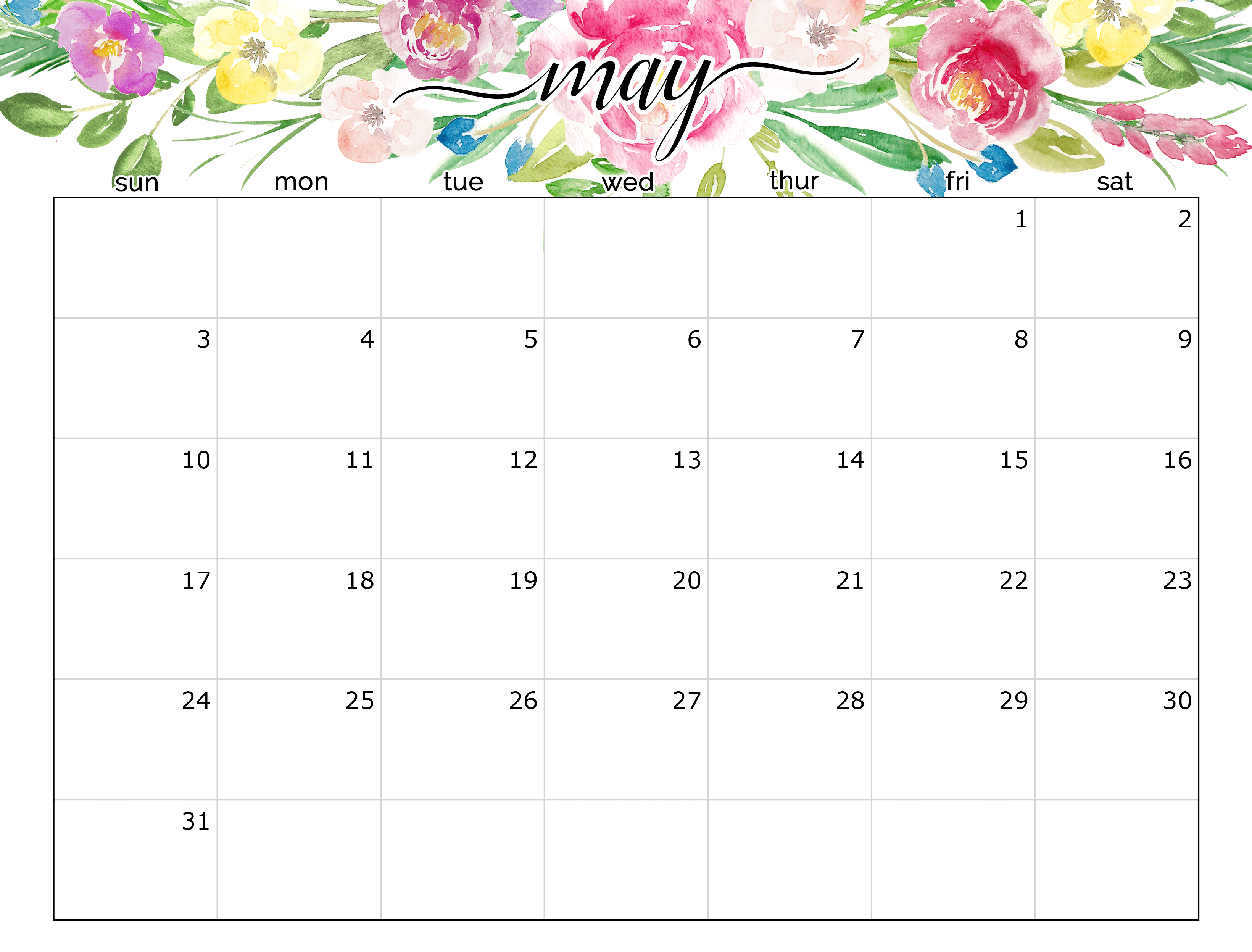 cute May 2020 calendar template