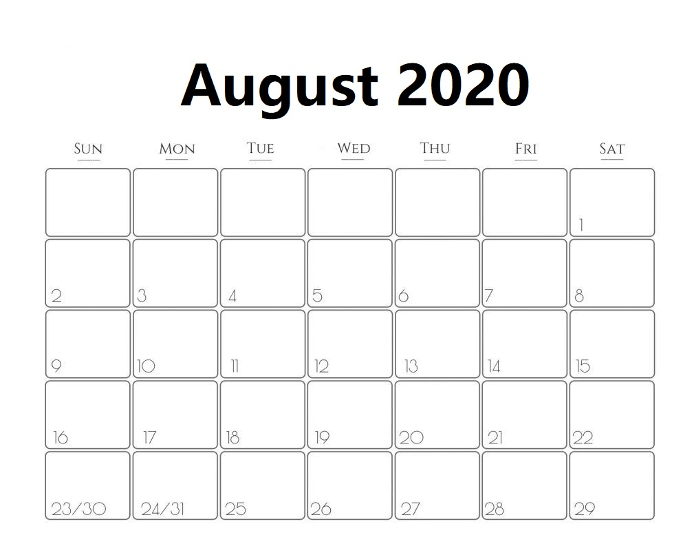August 2020 Calendar Template With Design