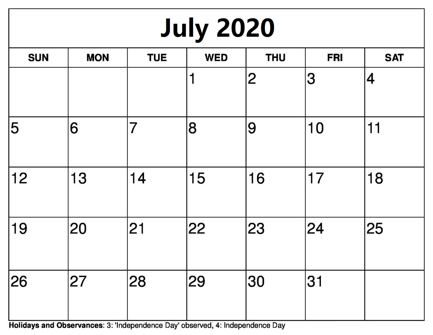 Calendar For July 2020 With Holidays