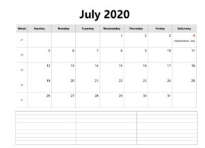 Calendar For July 2020 With Notes