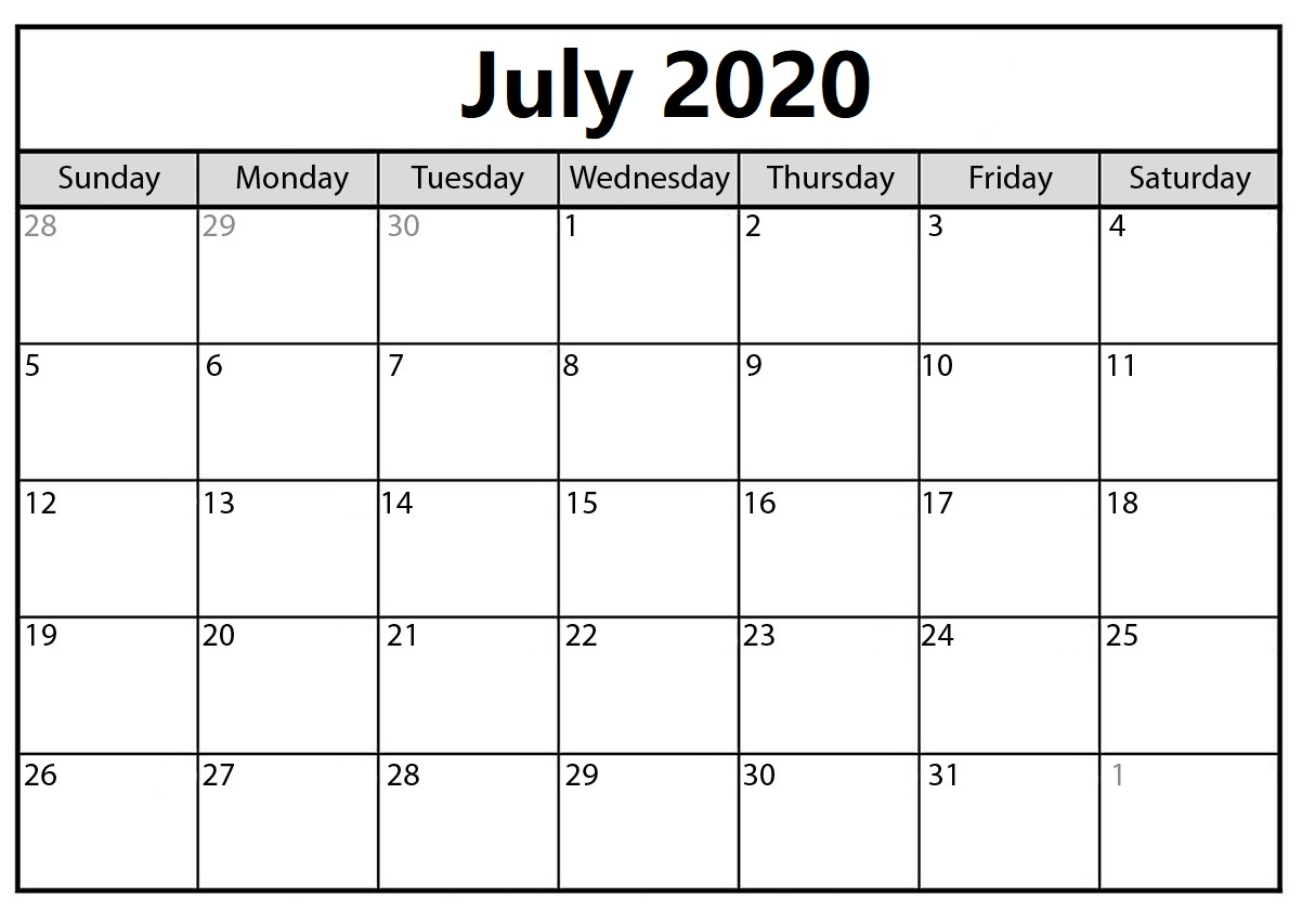 Cute July 2020 Calendar Layout