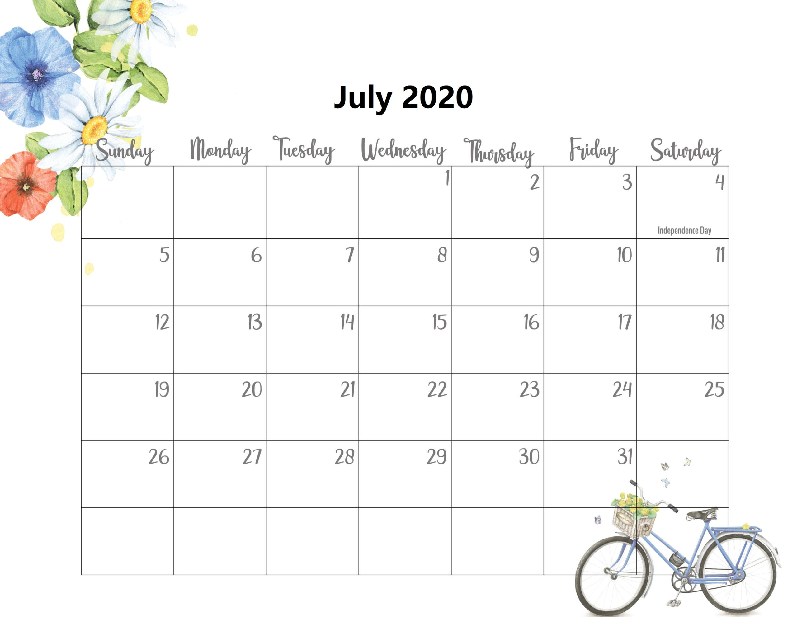 Cute July 2020 Calendar Template
