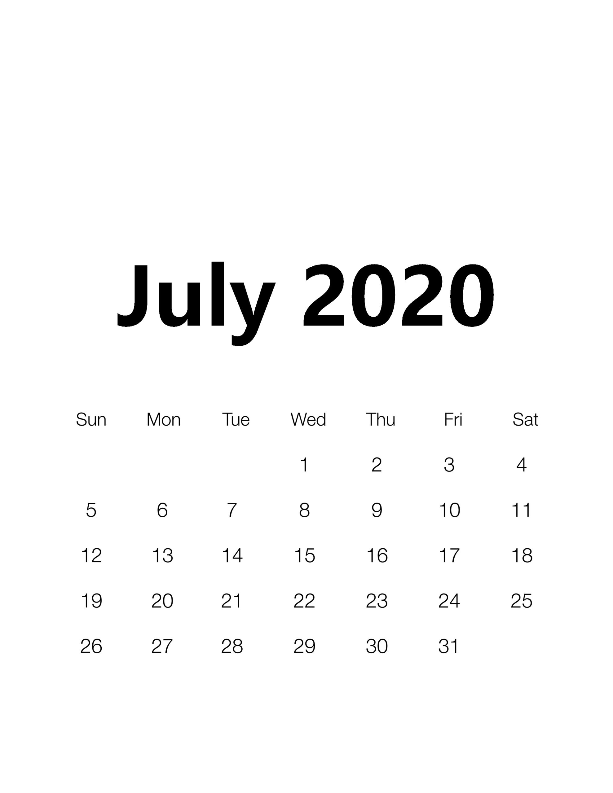 Cute July 2020 Calendar USA