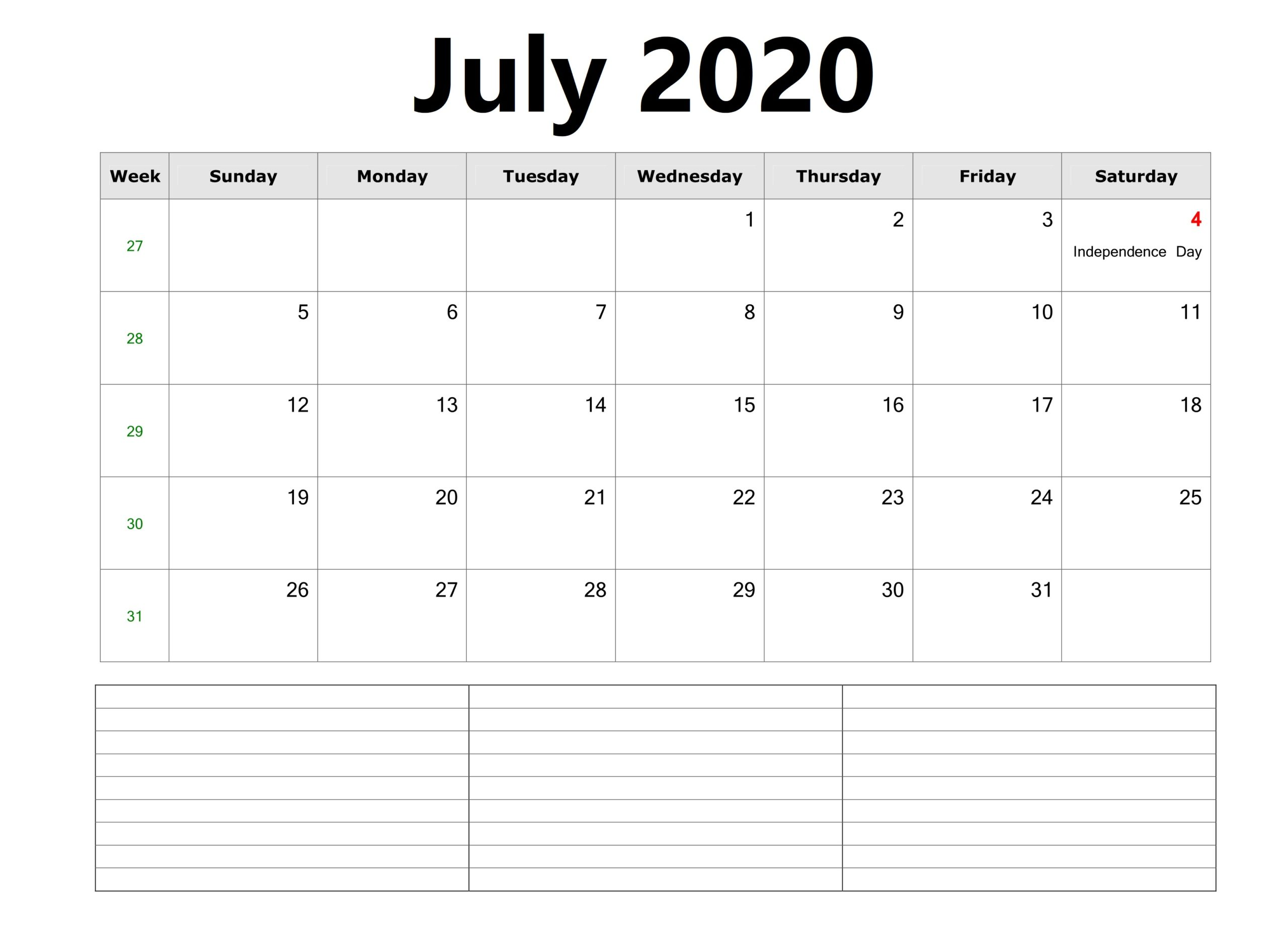 Cute July 2020 Calendar With Holidays