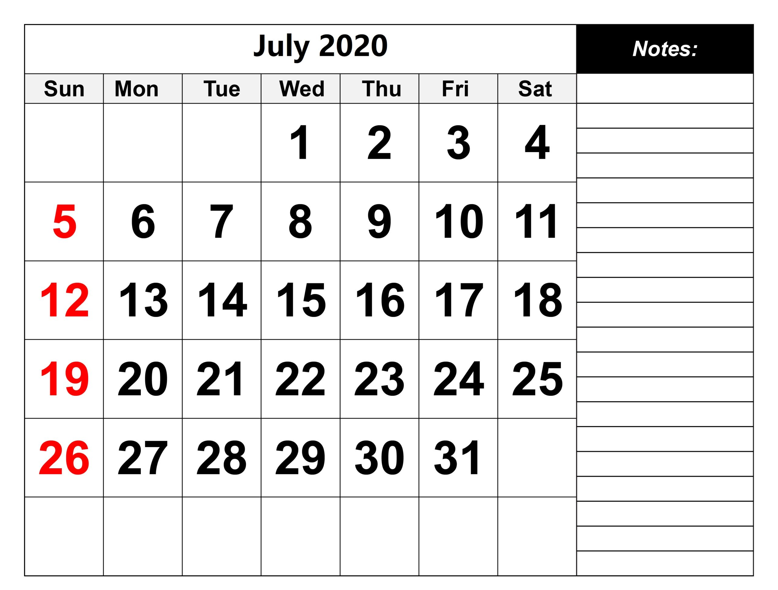 Cute July 2020 Calendar With Notes