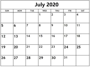 Free July 2020 Calendar With Holidays