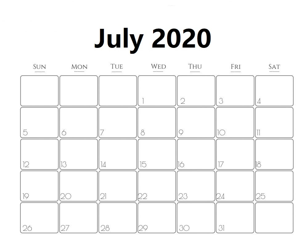 July 2020 Calendar Cute Design