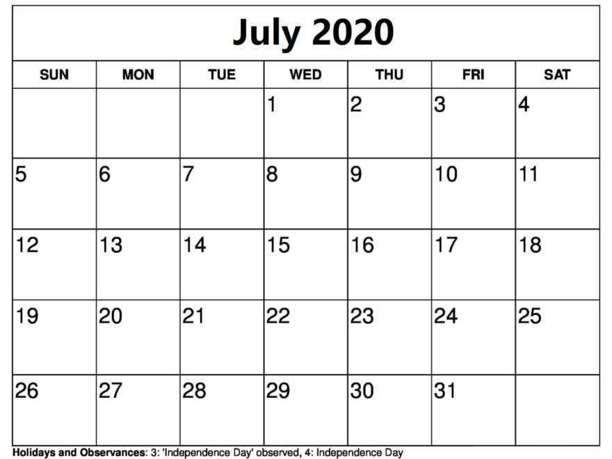 July 2020 Calendar Template With Holidays