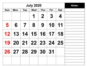 July 2020 Calendar With Holidays Notes