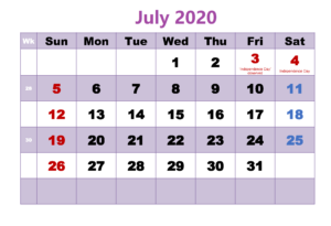 July 2020 Calendar With Holidays Template