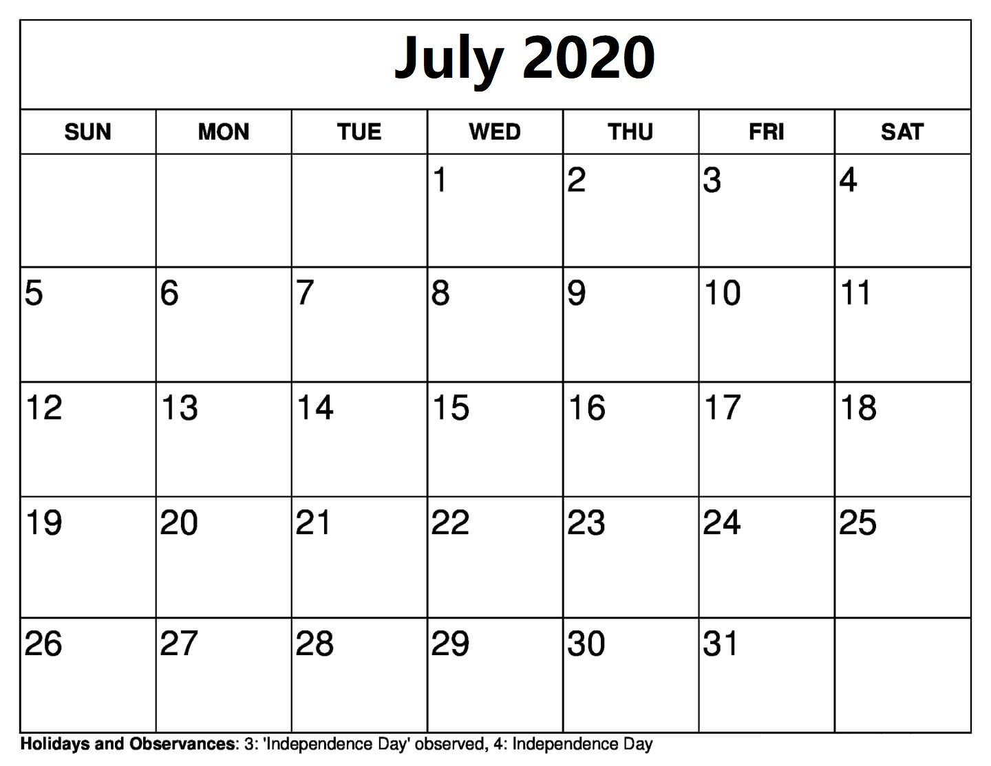 July 2020 Calendar With Holidays