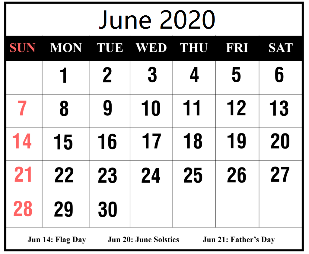 June 2020 Calendar Holidays Word