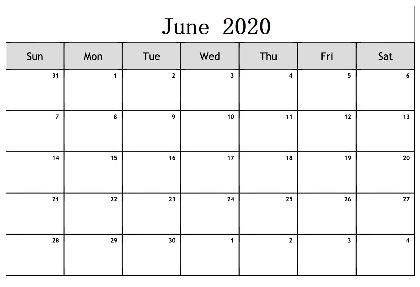 June 2020 Calendar In Word