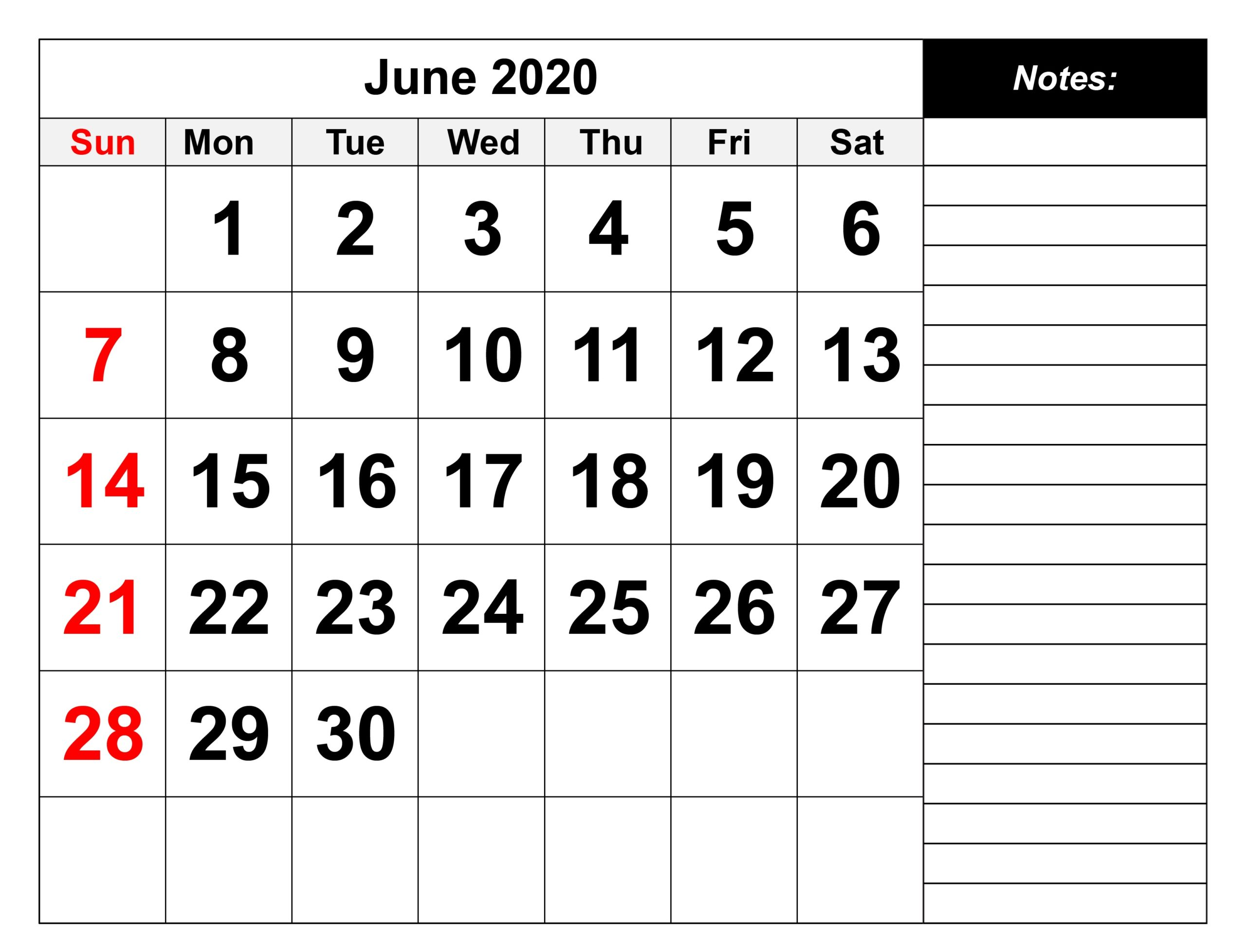 June 2020 Calendar Microsoft Word