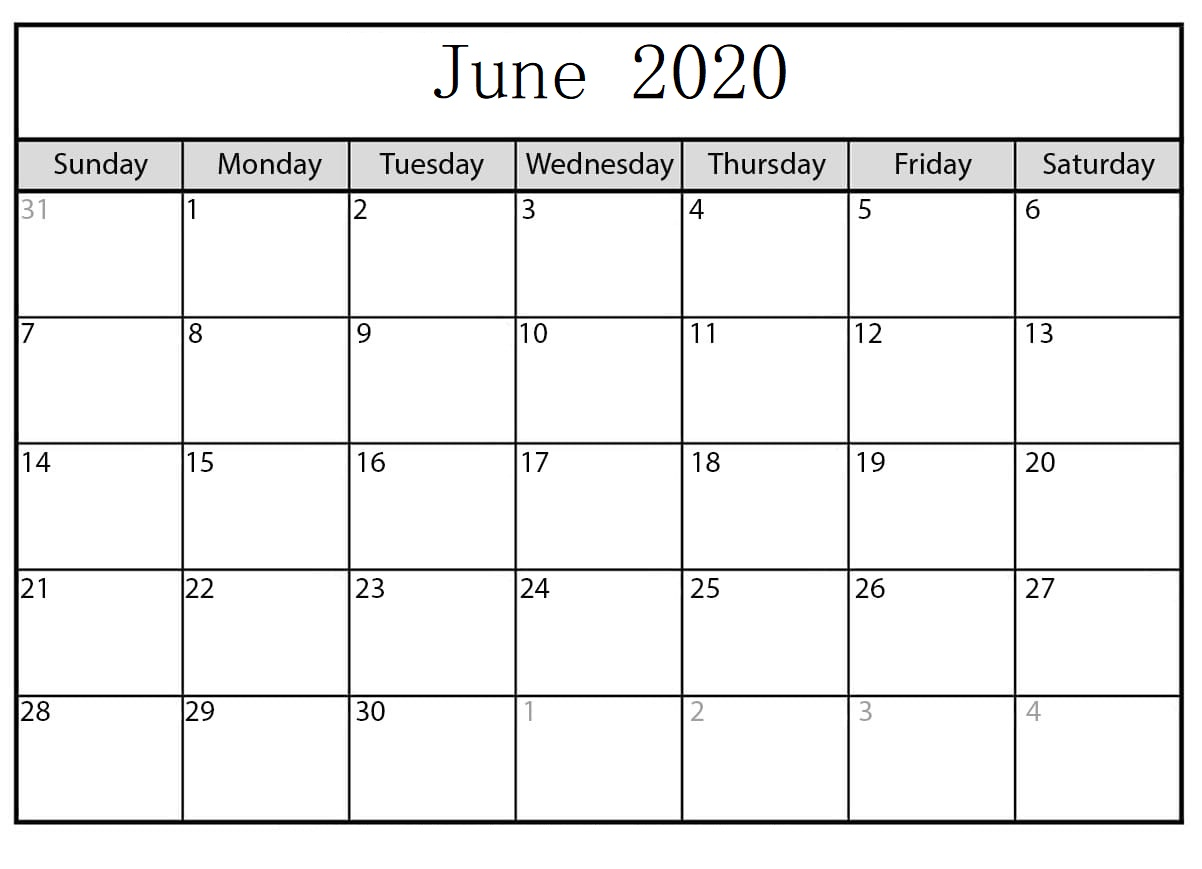 June 2020 Calendar Word Doc