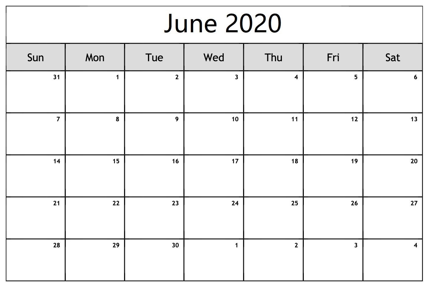 June 2020 Calendar Word File