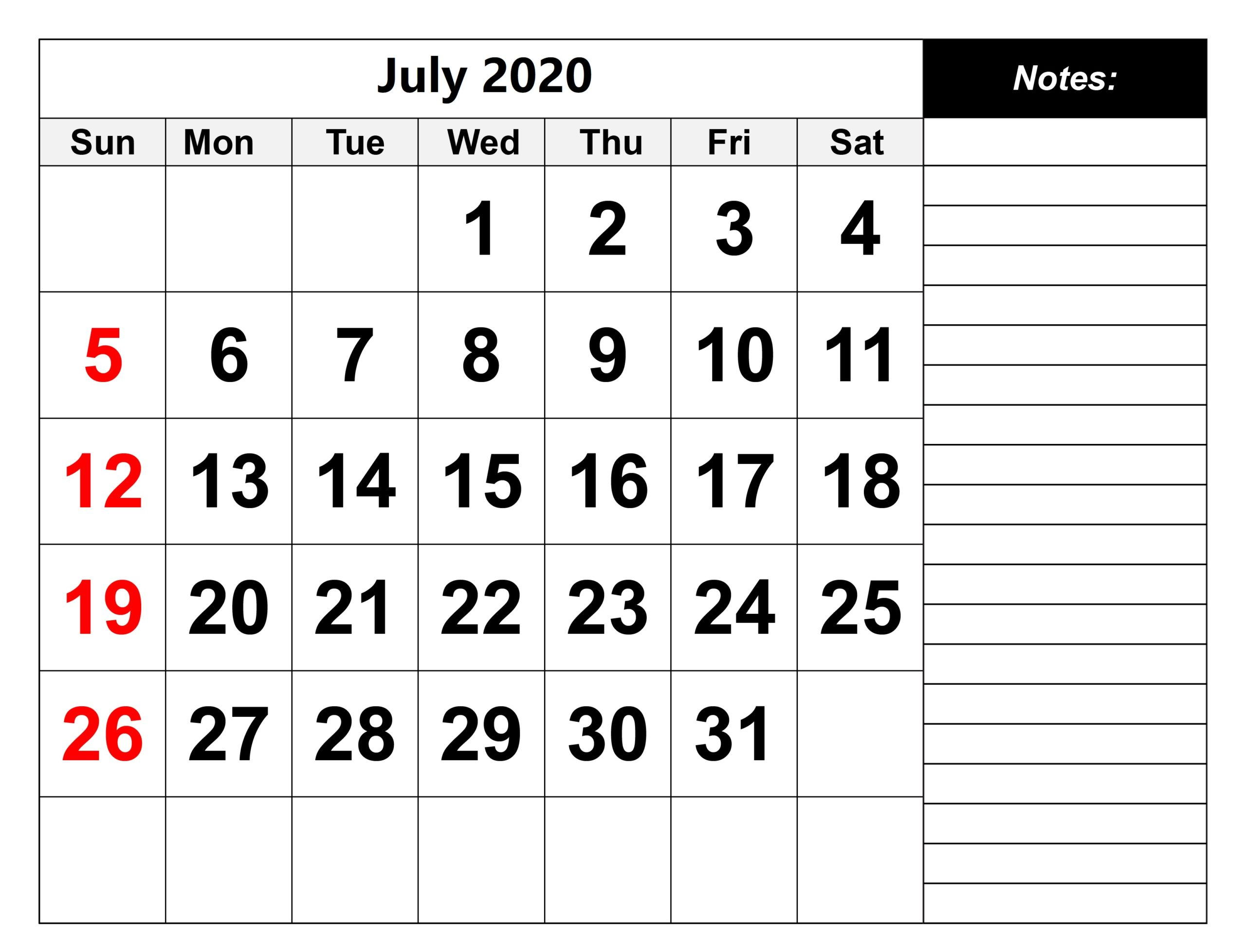 Latest July 2020 Calendar With Holidays