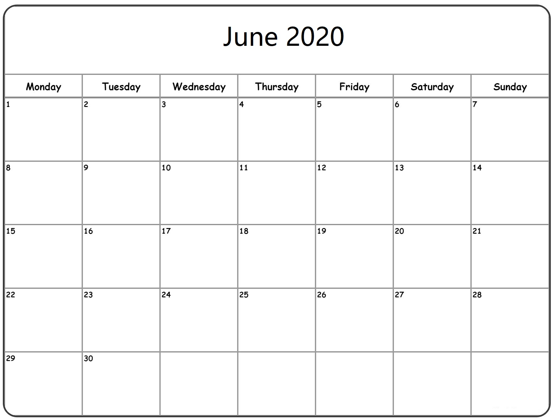Latest June 2020 Calendar Word