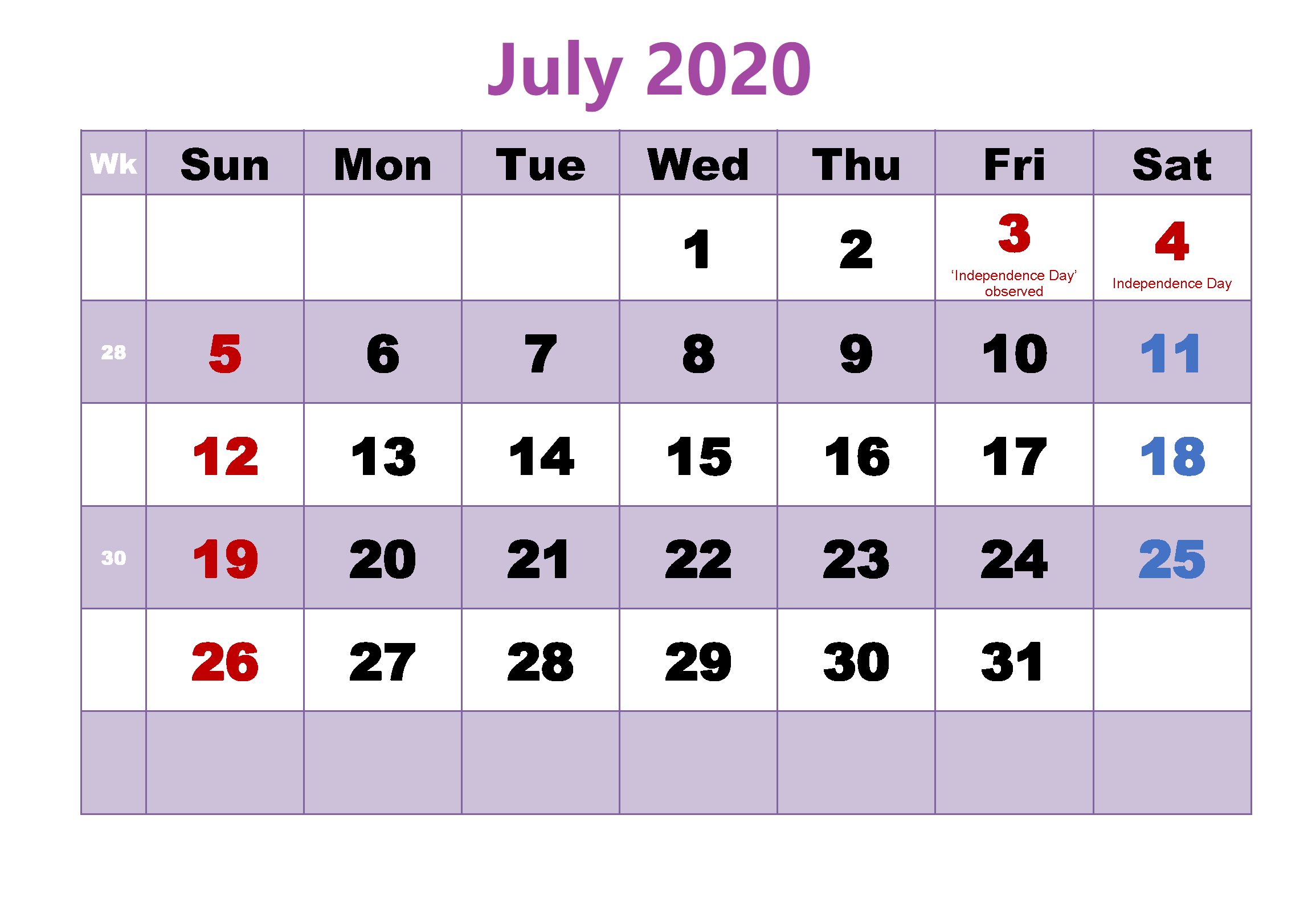 Monthly Calendar July 2020