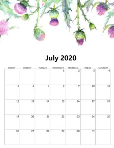 New July 2020 Calendar With Holidays