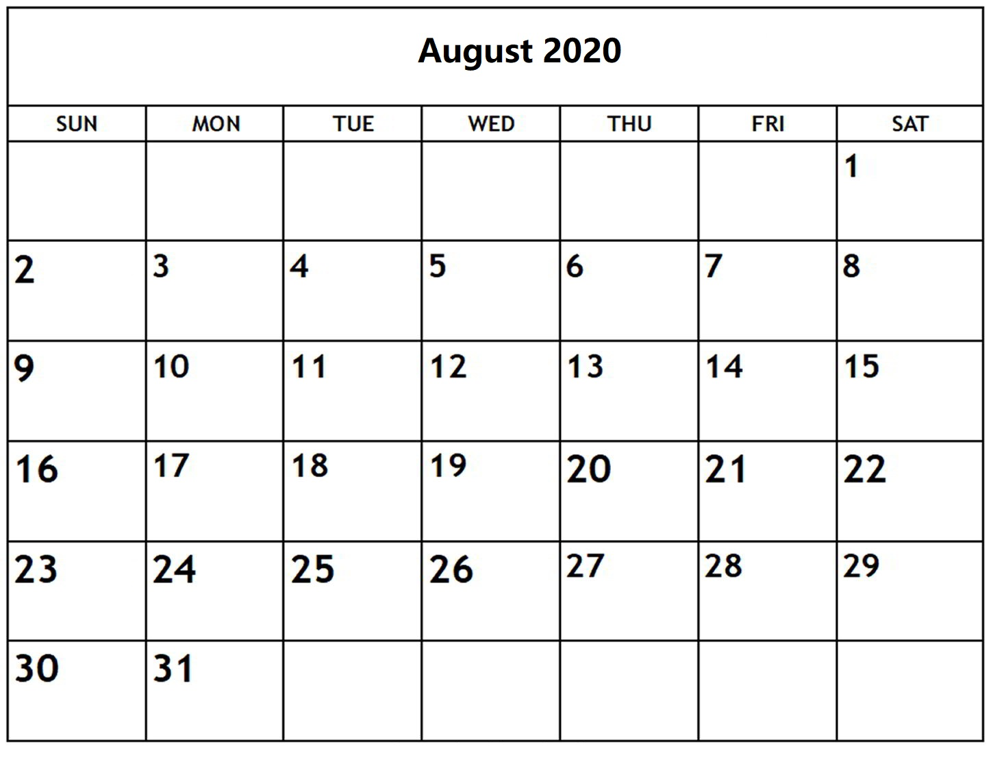 Printable August 2020 Calendar With Holidays