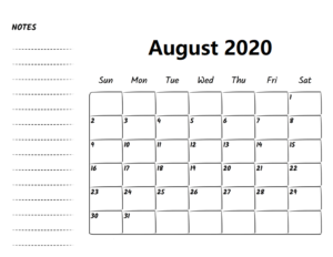 Printable August 2020 Calendar With Notes