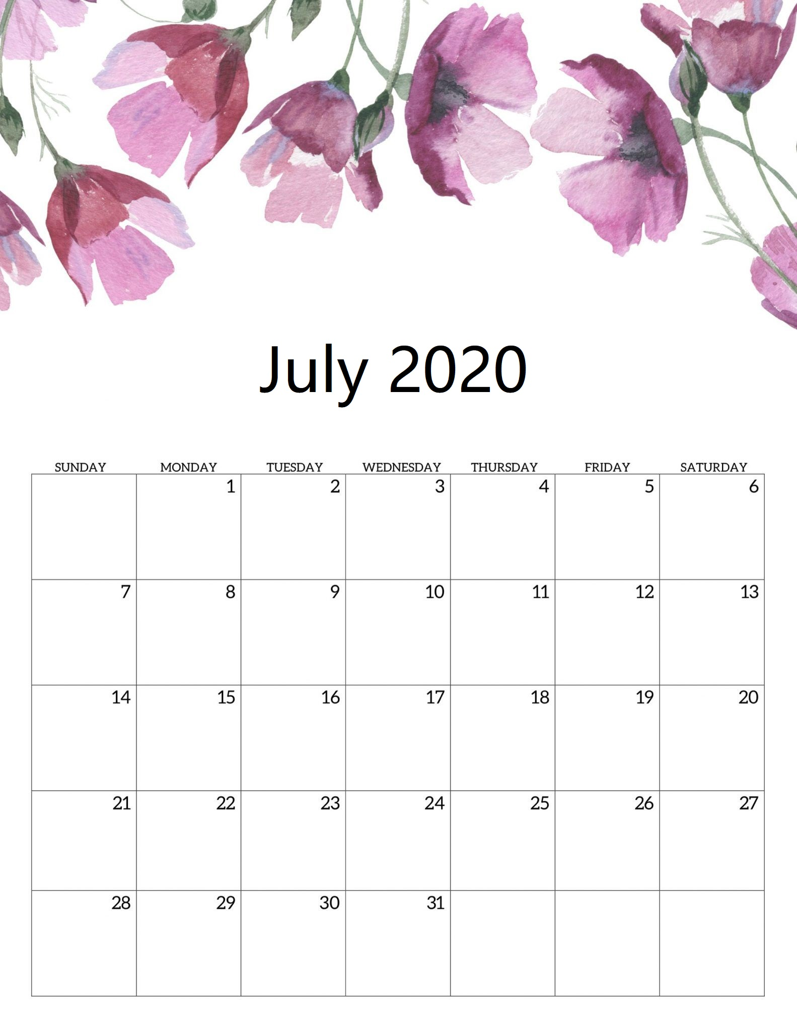 Printable Cute July 2020 Calendar