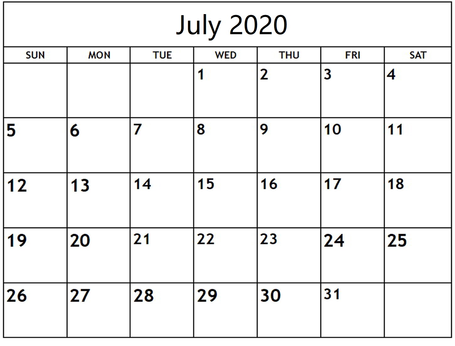 Printable July 2020 Calendar Layout
