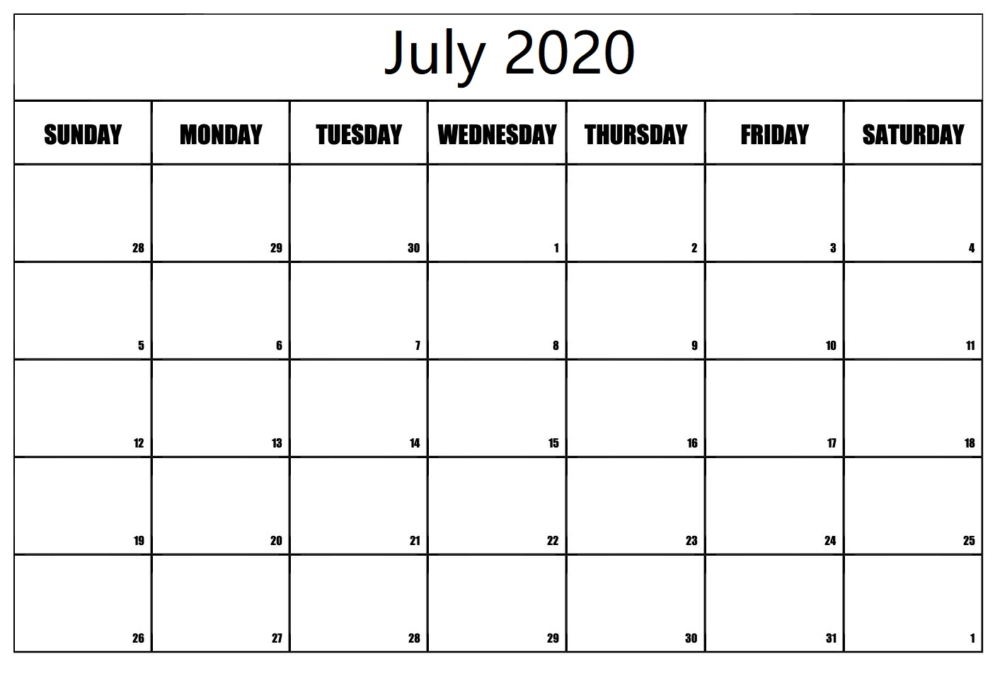 Printable July 2020 Calendar USA
