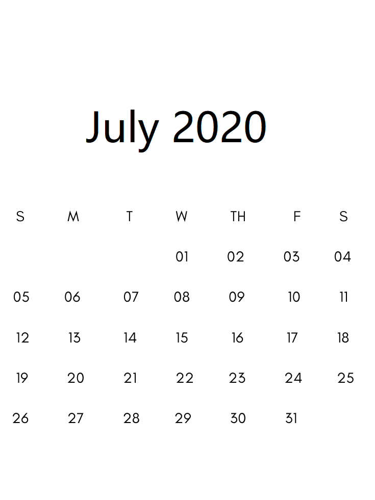 Printable July 2020 Calendar Uk
