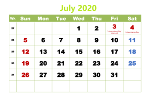 Pritable July 2020 Calendar With Holidays