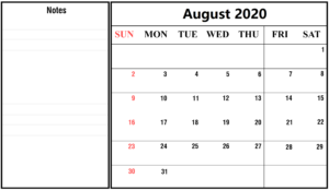 August 2020 Calendar With Holidays Notes