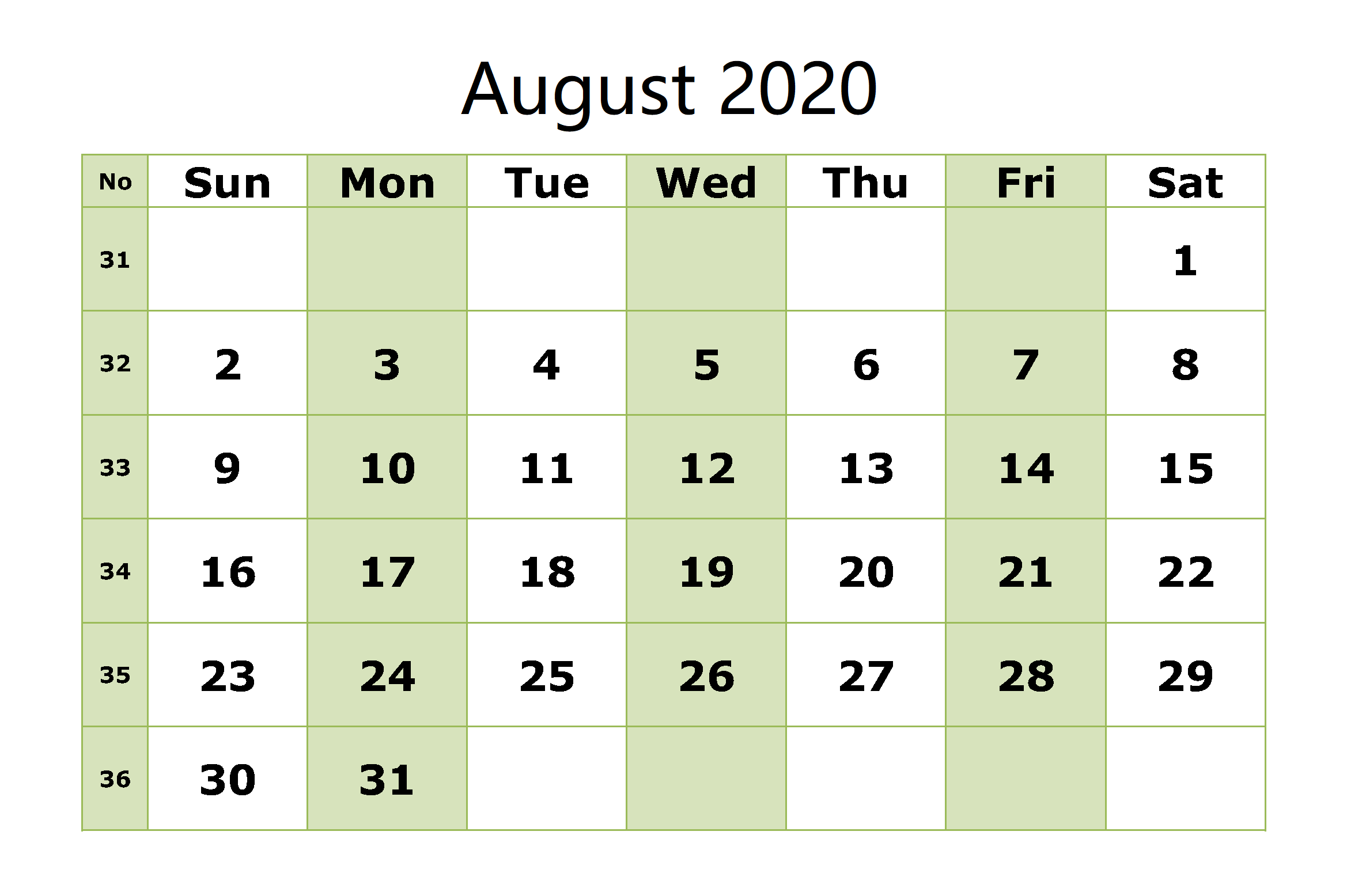 August 2020 Calendar With Holidays PDF