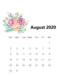 August 2020 Calendar With Holidays Planner