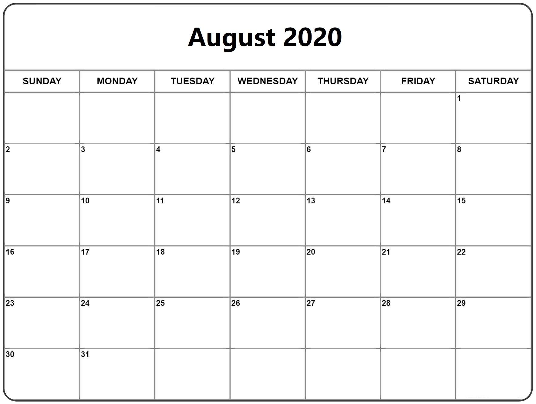 Blank August 2020 Calendar Pages